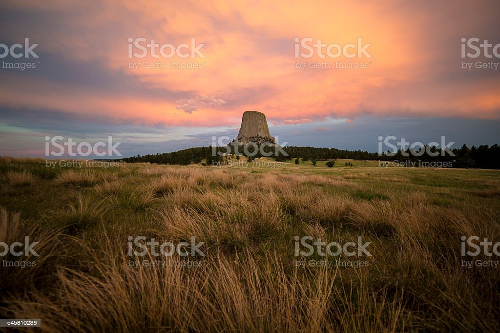 Devils Tower National Monument at Sunset stock photo