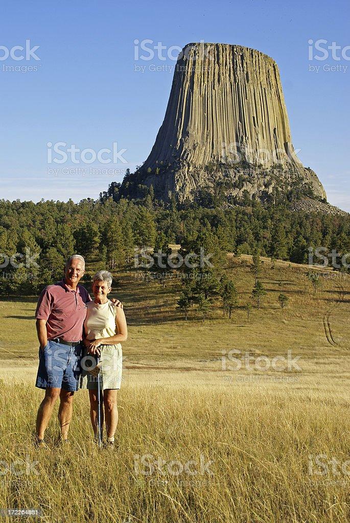 Devil's Tower Tourists stock photo