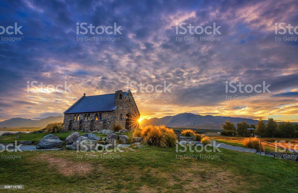 Devine Sunrise At The Church Of Good Shepherd stock photo
