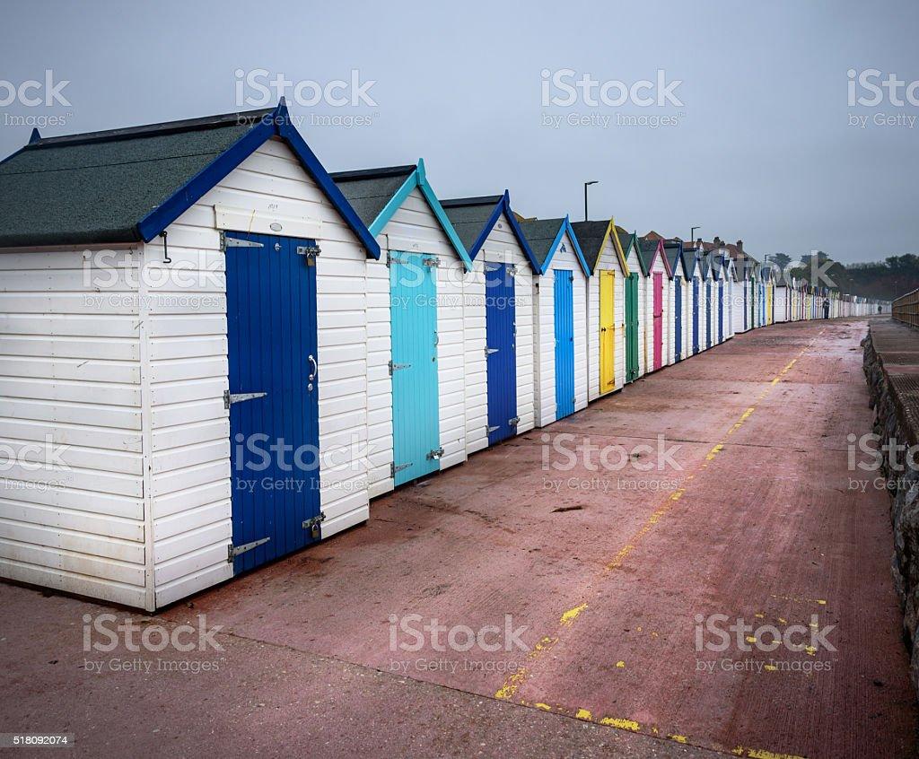 Devon beach huts in UK stock photo