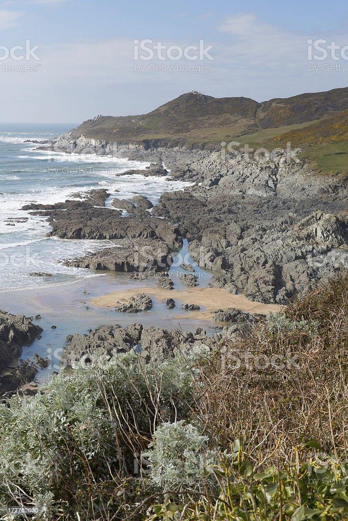 Devon coast beautiful day Woolacombe royalty-free stock photo