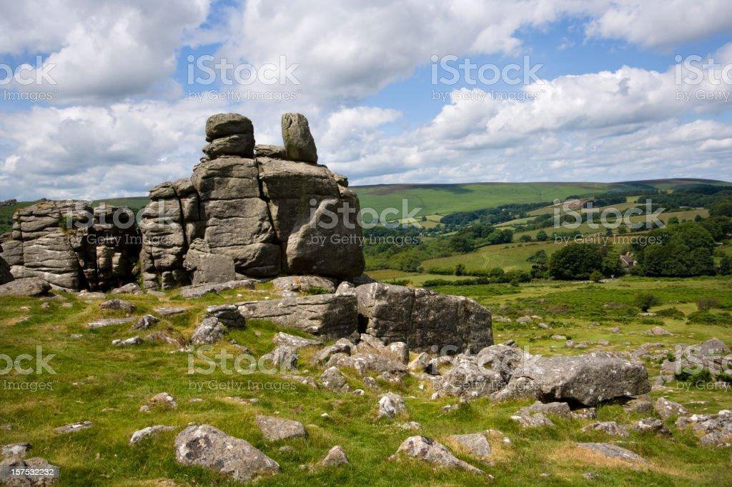 UK, Devon, Dartmoor, Hound Tor stock photo