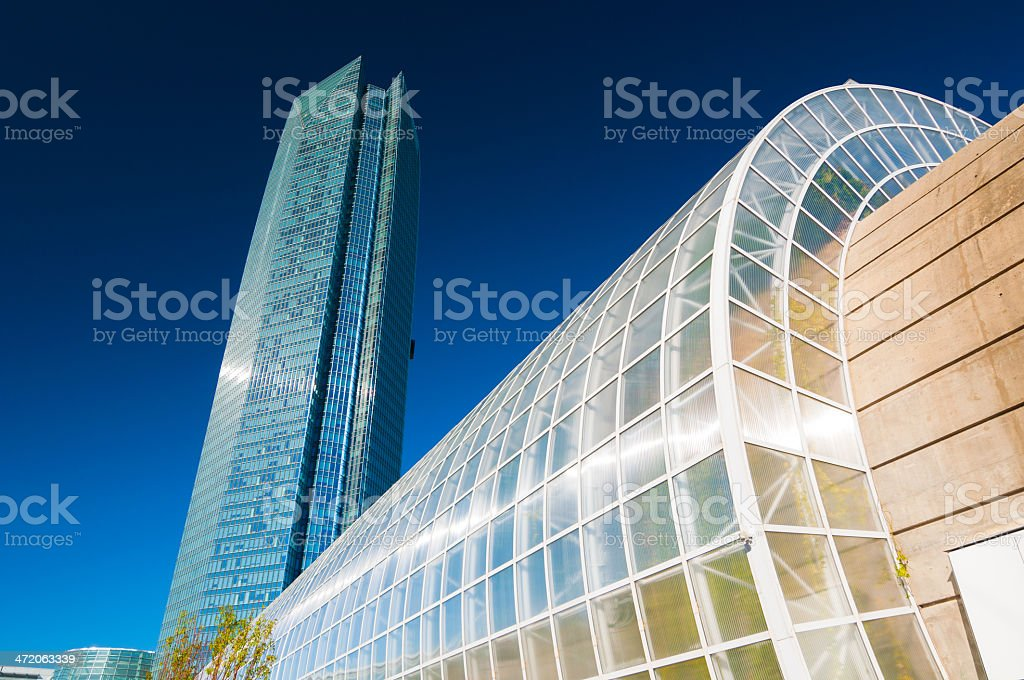Devon Tower and Crystal Bridge in Oklahoma City stock photo