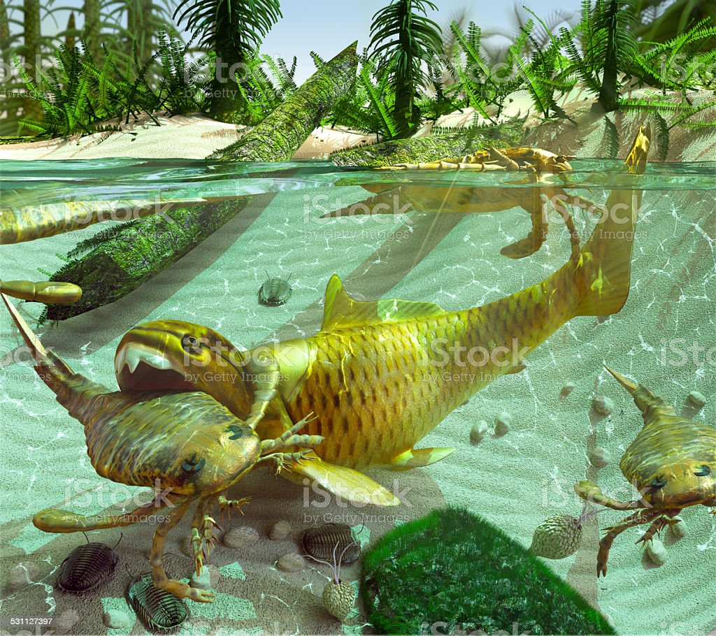 Devonian Lake Cycle Of Life vector art illustration