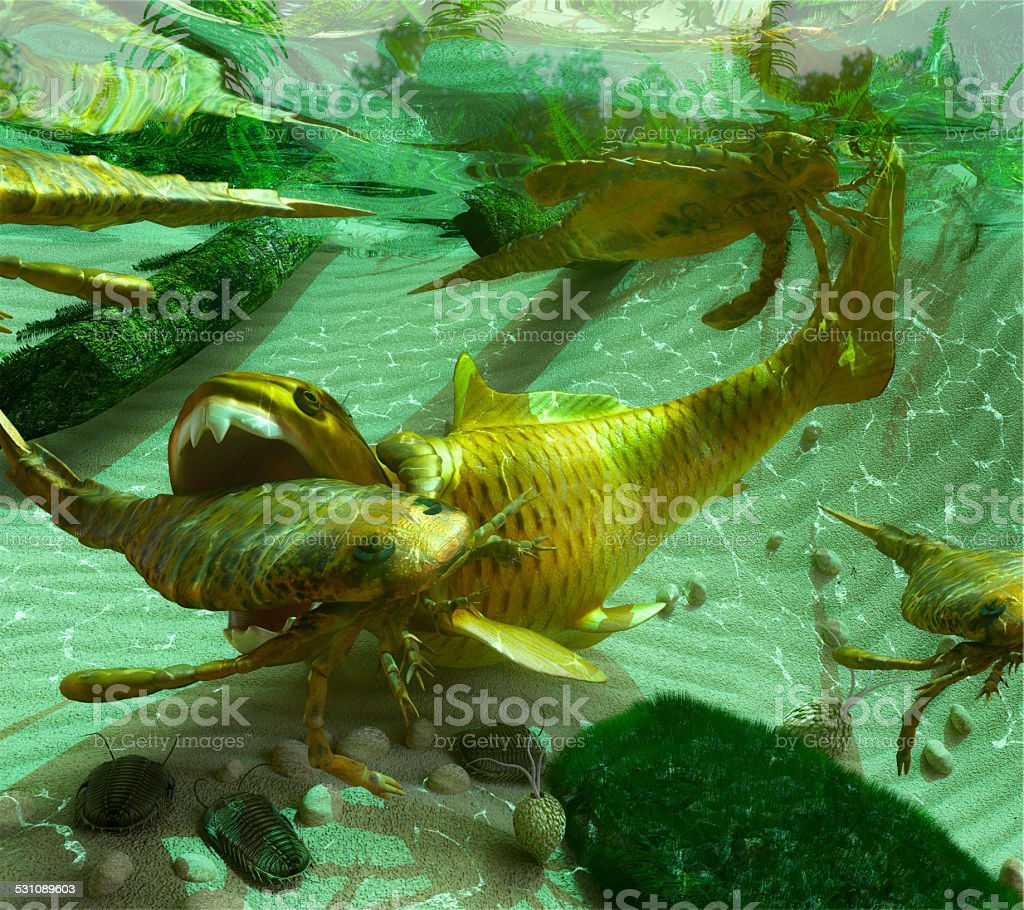 Devonian Lake Scene vector art illustration