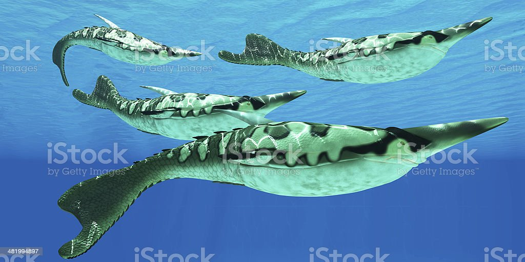 Devonian Pteraspis Fish Group stock photo