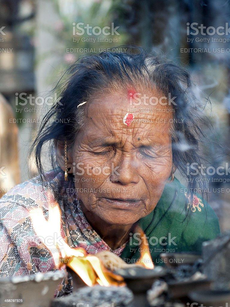 Devotee in Bhaktapur stock photo