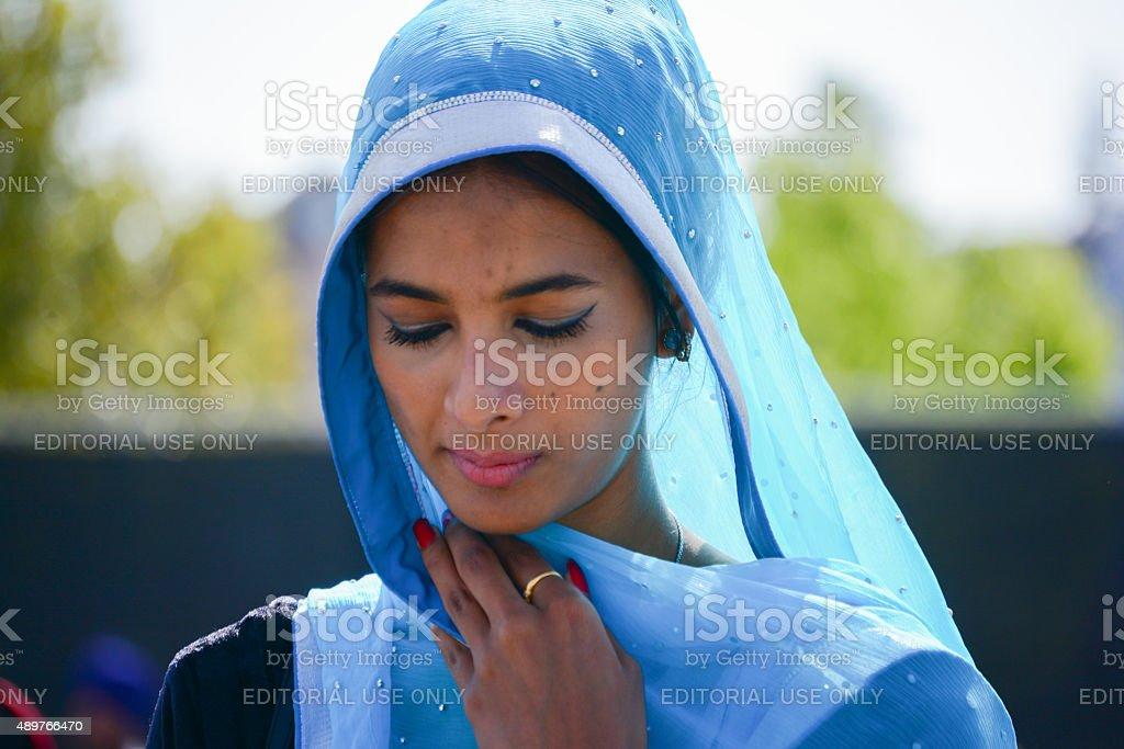 Devotee Sikh praying stock photo