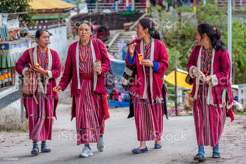 Devotees at Buddhist monastery, Tawang, Arunachal Pradesh, India. stock photo