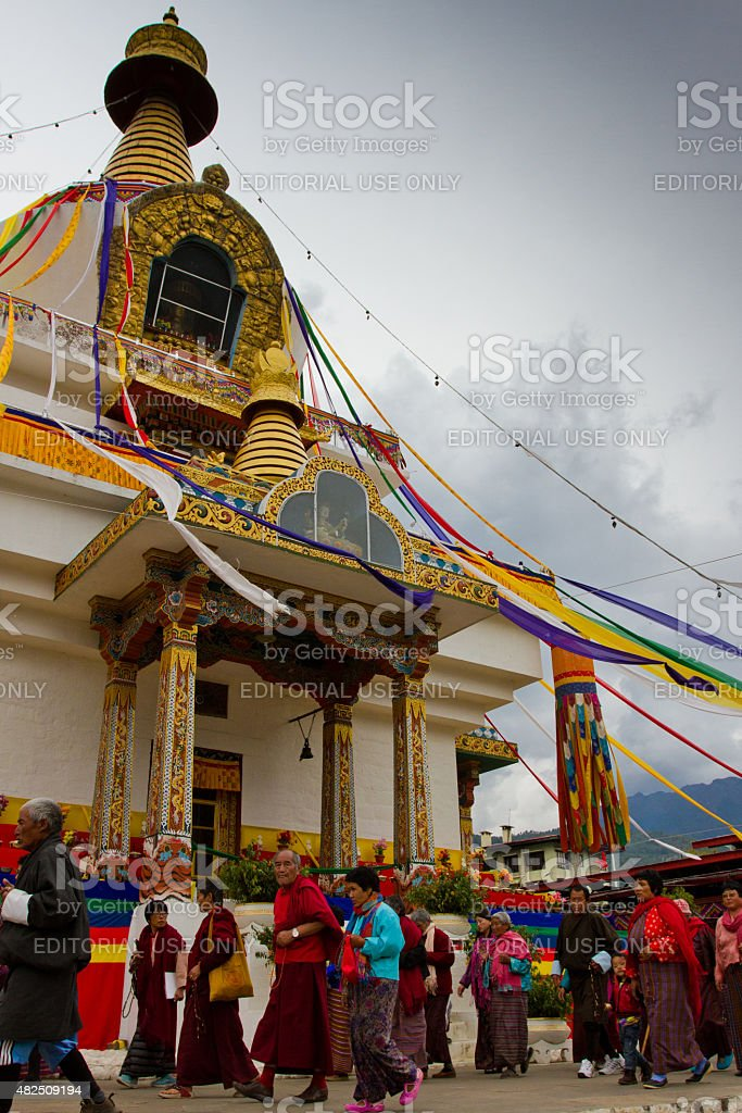Devotees at The Memorial Stupa of Thimphu, Bhutan stock photo