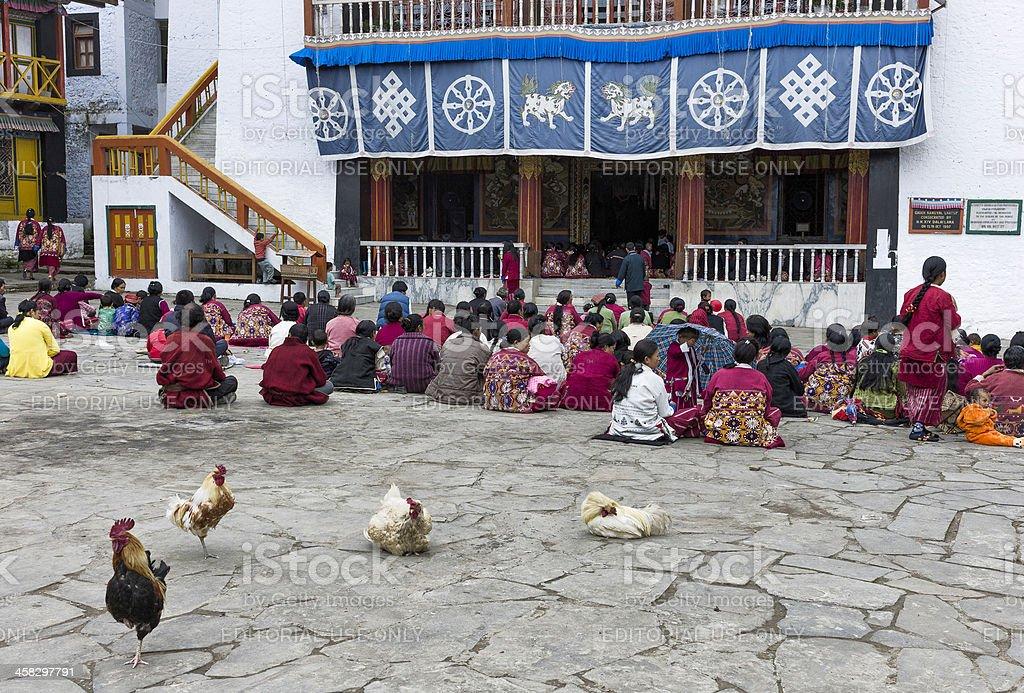 Devotees, Buddhist monastery, Tawang, Arunachal Pradesh, India. stock photo