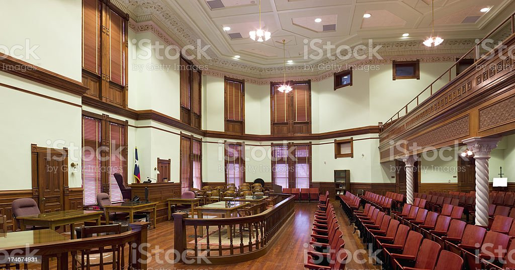 DeWitt County Texas Courtroom Panarama royalty-free stock photo