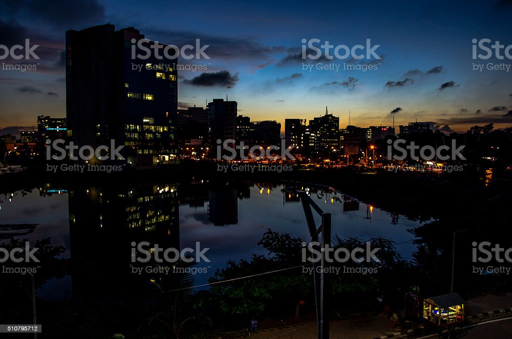 Dhaka City after Sunset stock photo