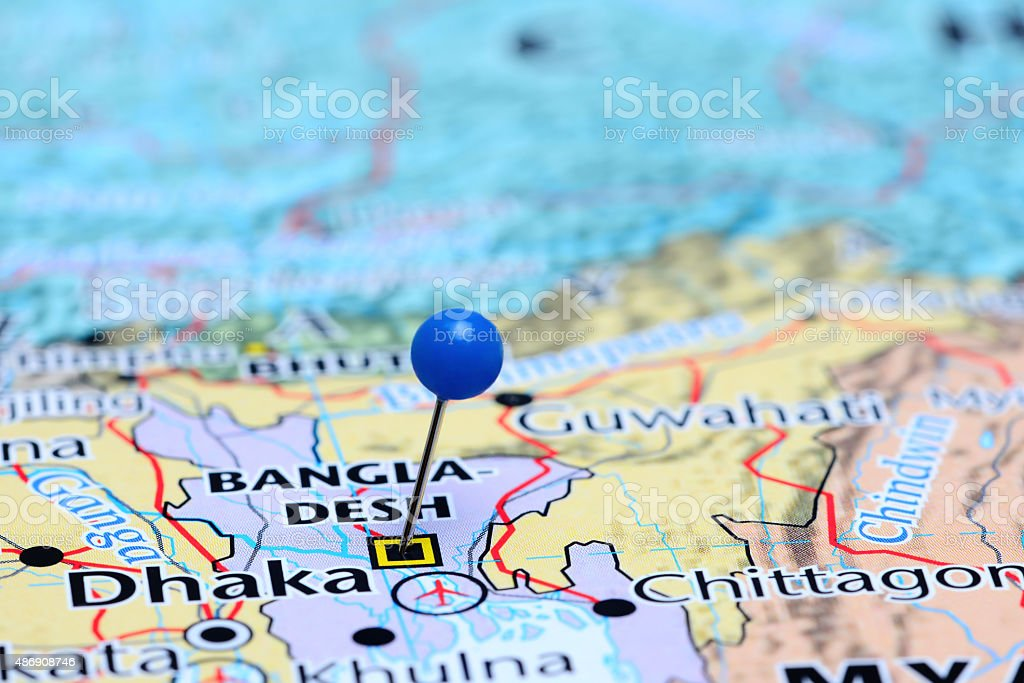 Dhaka pinned on a map of Asia stock photo