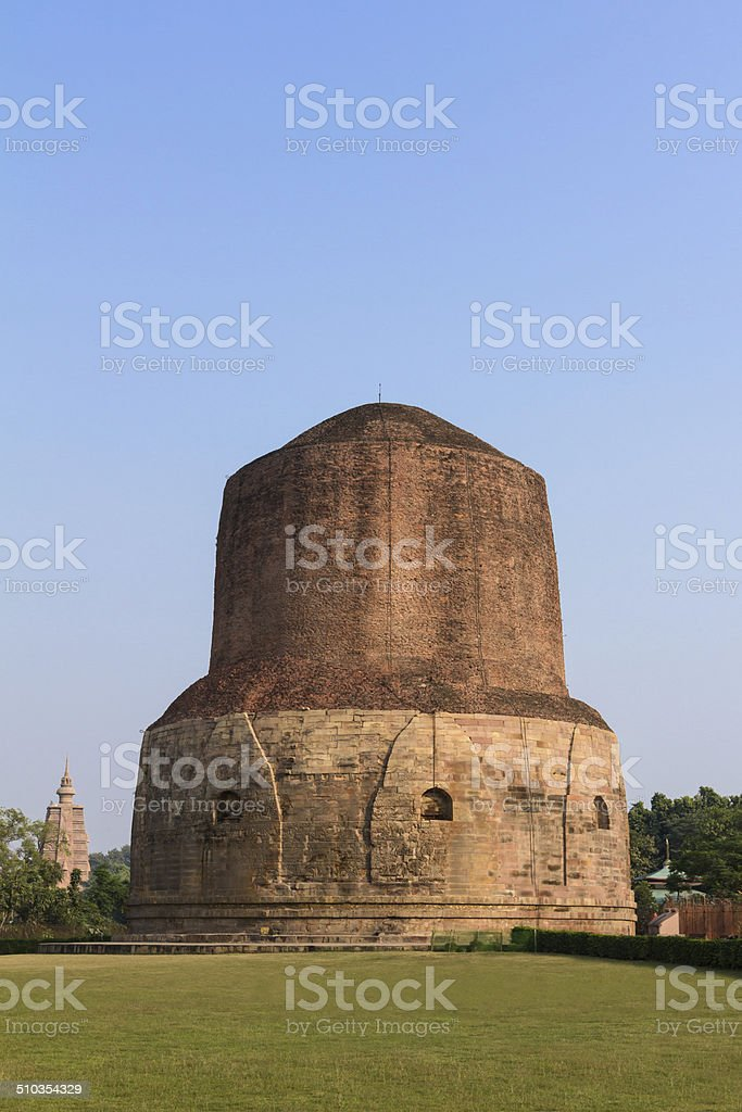 Dhamekh Stupa at Sarnath, Varanasi, India. stock photo