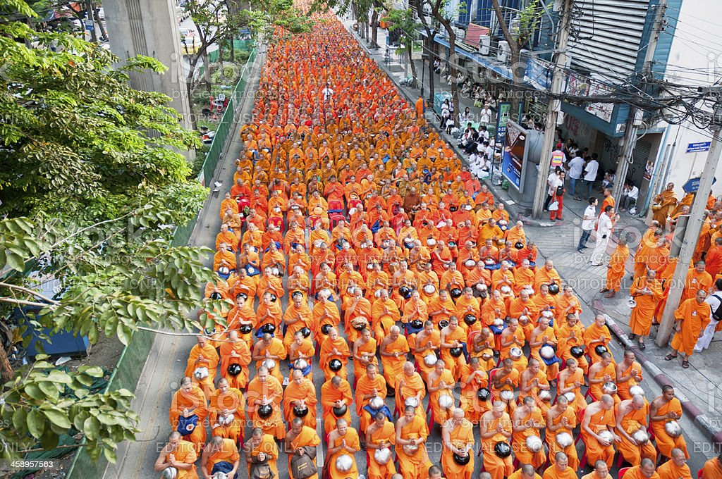 Dhammakaya Buddhist Monks March In Bangkok, Thailand stock photo