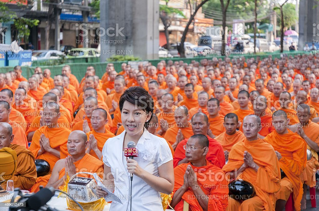 Dhammakaya Buddhist Monks March In Bangkok, Thailand royalty-free stock photo