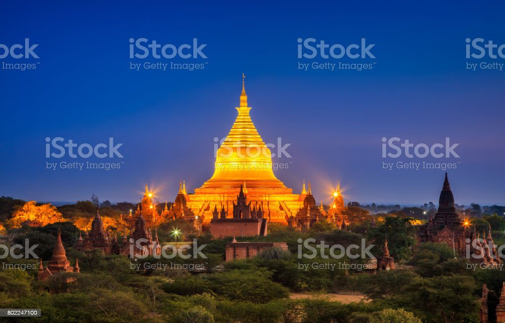 Dhammayazika Pagoda at night, Bagan, Myanmar stock photo