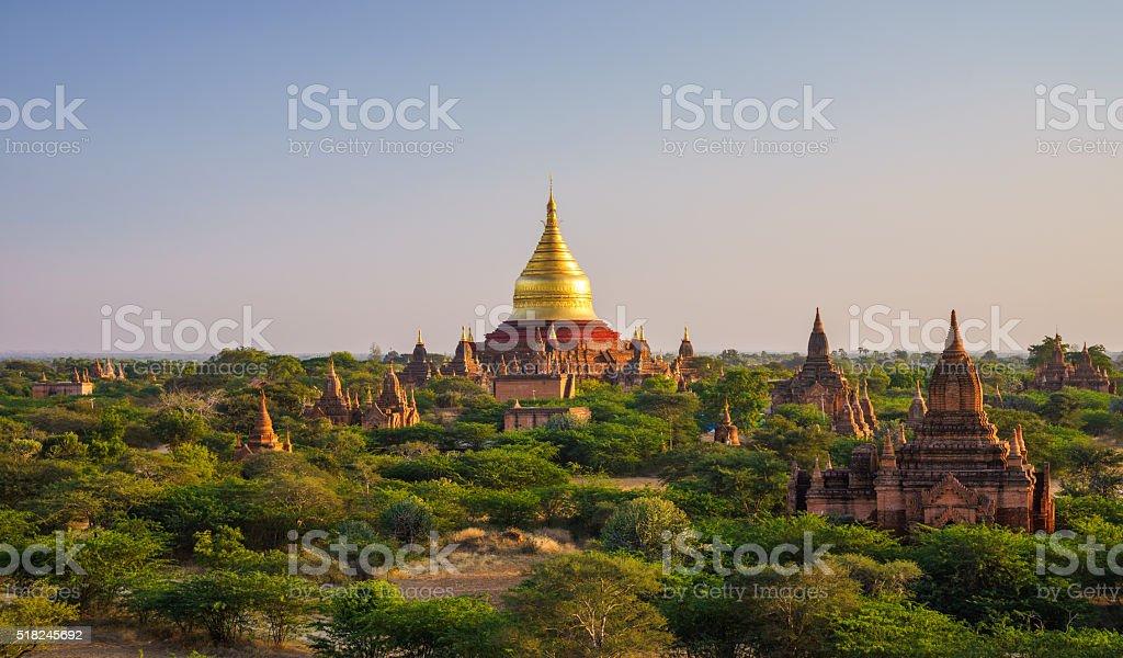 Dhammayazika Pagoda at sunset, Bagan, Myanmar stock photo