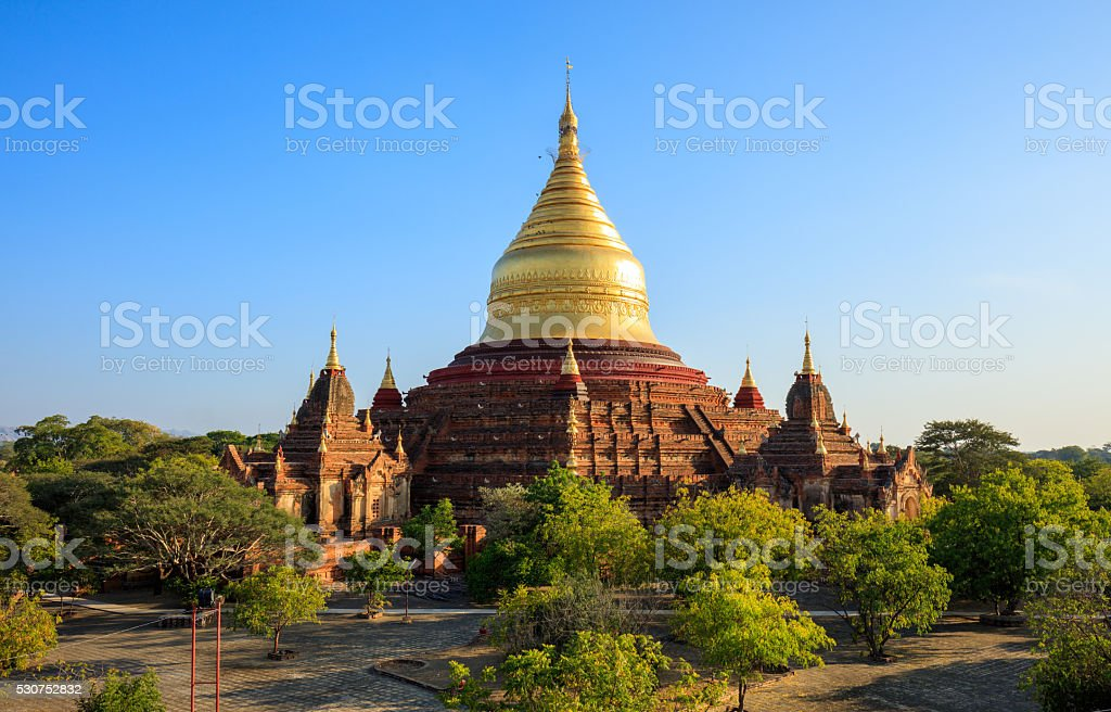 Dhammayazika Pagoda at sunset, Bagan, Myanmar stock photo