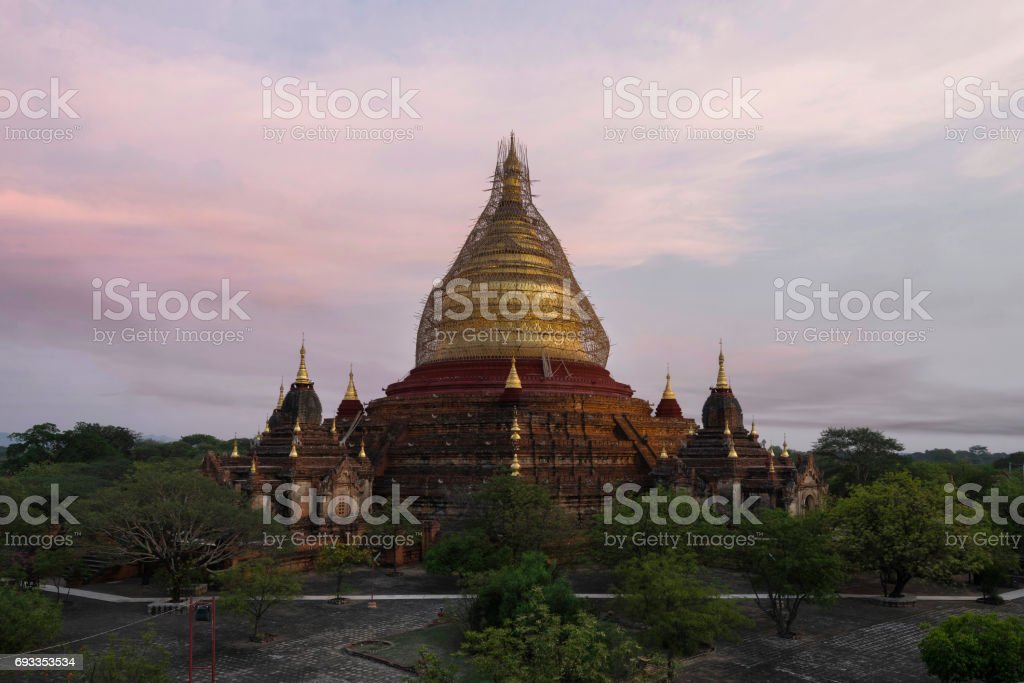 Dhammayazika Pagoda in New Bagan, Myanmar stock photo