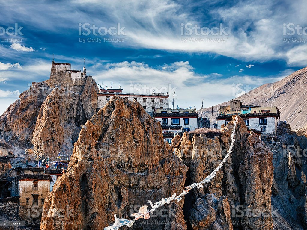 Dhankar gompa Tibetan Buddhist monastery and prayer flags lungta stock photo