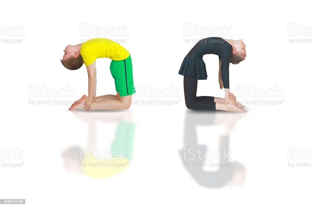 dhanurasana yoga stock photo