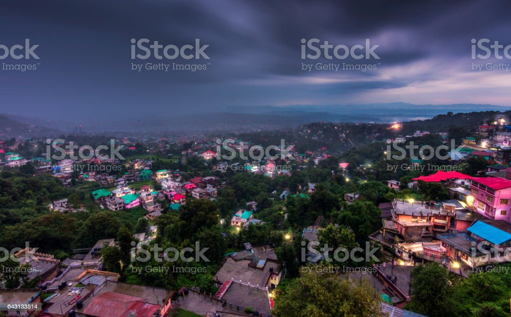 Dharamshala city view during monsoons in India stock photo