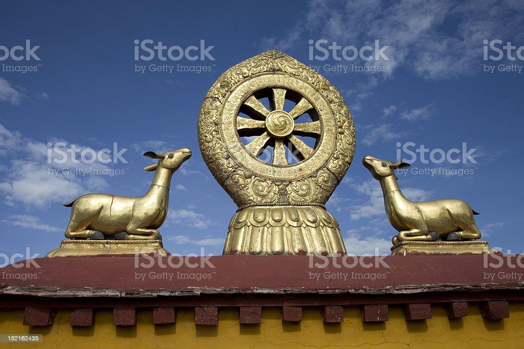 dharma wheel at Jokhang Temple stock photo
