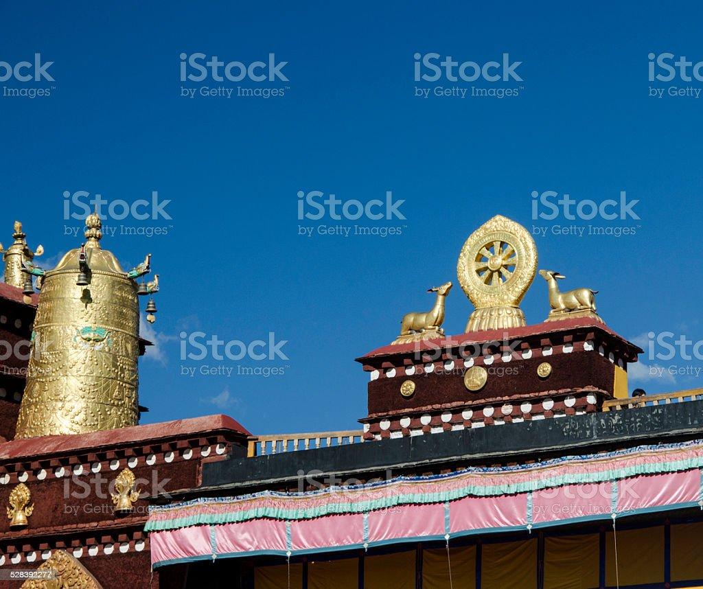 Dharma Wheel at the roof of Jokhang, Lhasa, Tibet stock photo