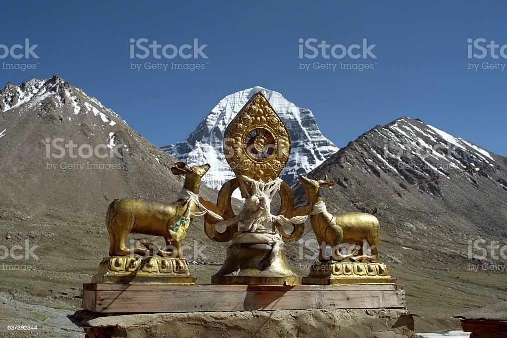 Dharmachakra on the roof of Driraphuk monastery. stock photo