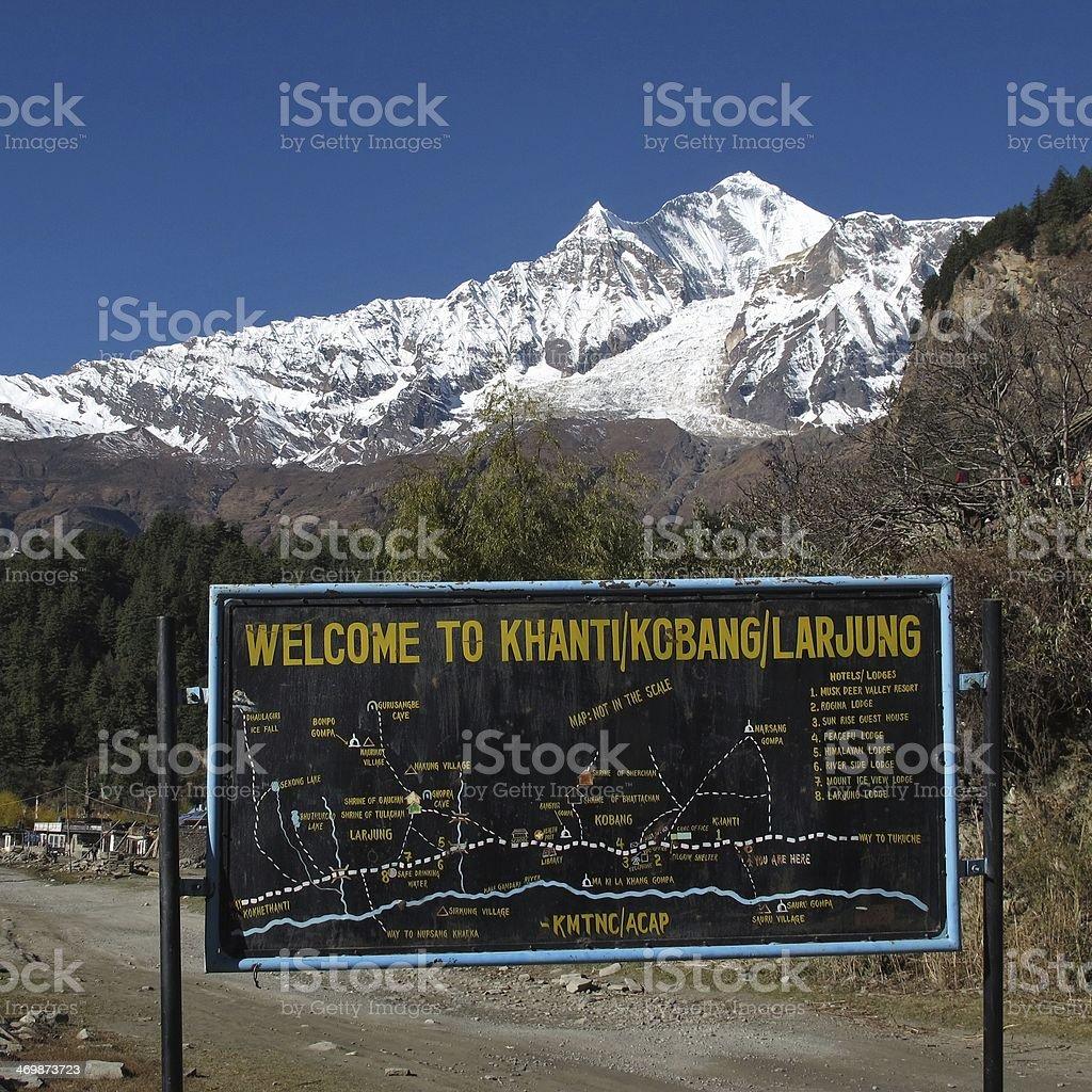 Dhaulagiri and signboard stock photo