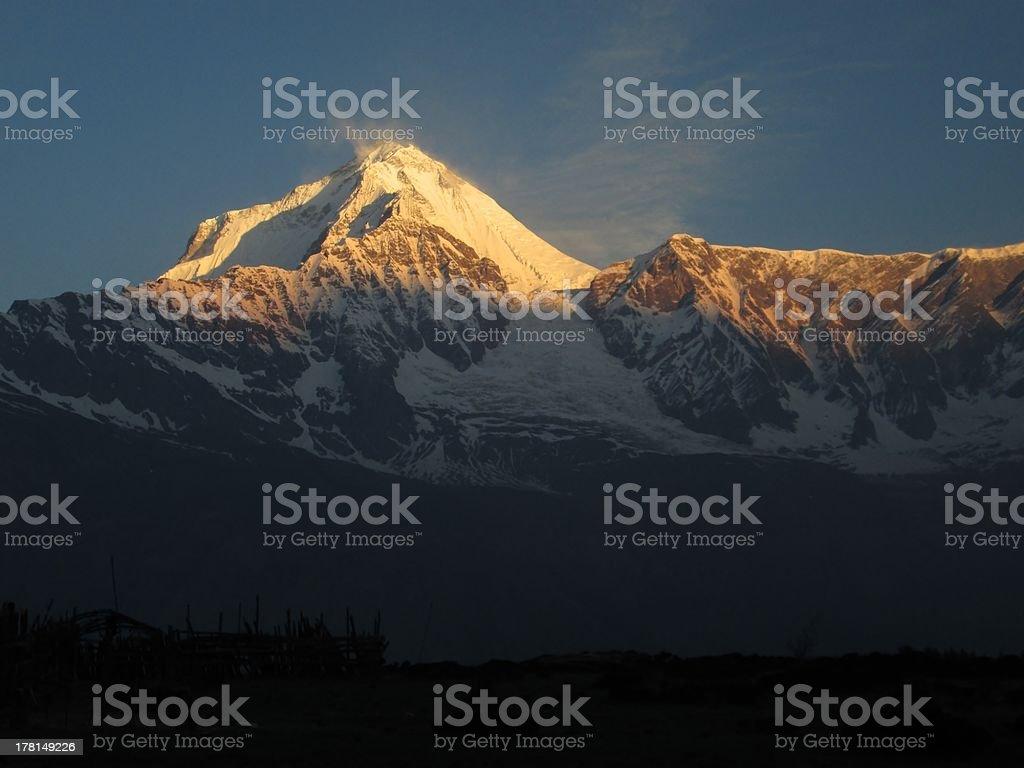 Dhaulagiri at sunrise royalty-free stock photo