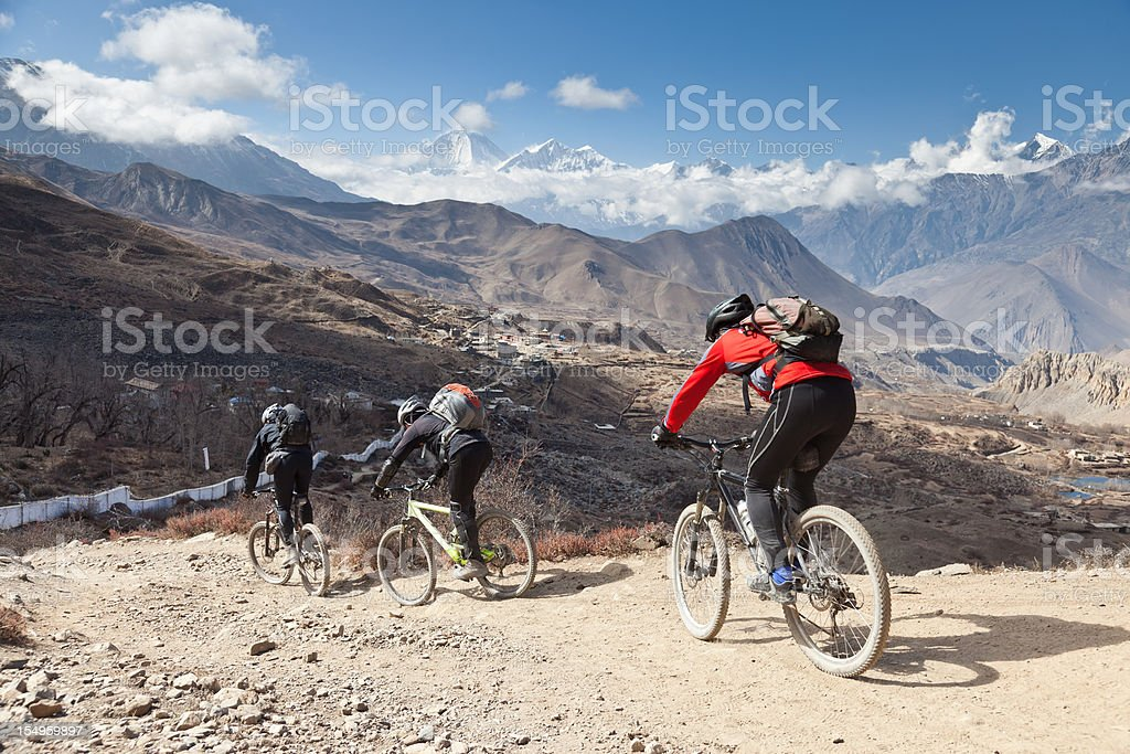 Dhaulagiri downhill, Nepal stock photo