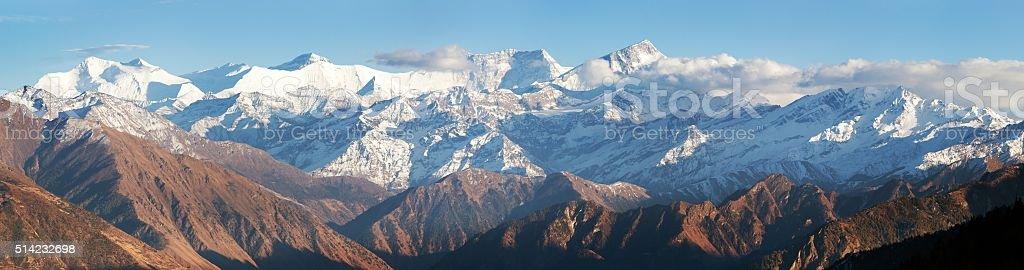 Dhaulagiri himal from Balangra Lagna pass stock photo