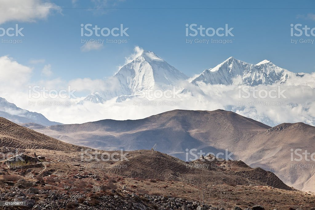 Dhaulagiri summit in the late afternoon, Nepal stock photo