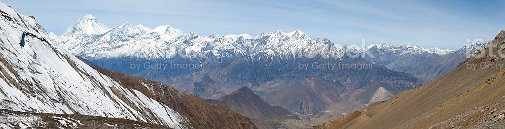 Dhaulagiri, view of mount Dhaulagiri from Thorung La pass, Nepal stock photo