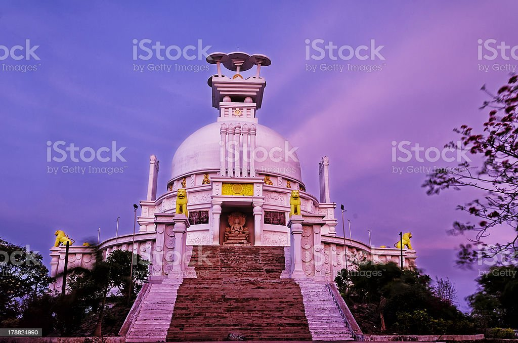 Dhauli Peace Temple after Sunset stock photo