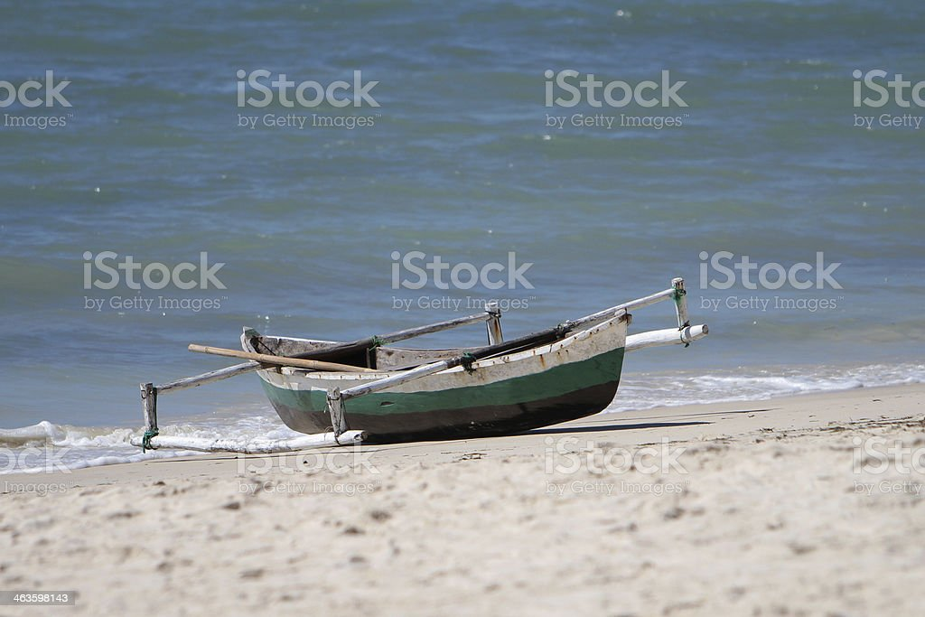 Dhow canoe or boat in Mozambique stock photo