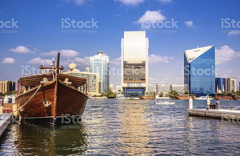 Dhow in Dubai Creek stock photo