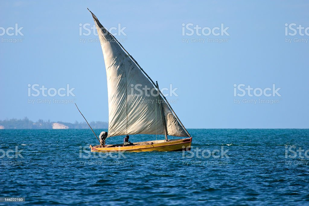 Dhow on the sea near the Mozambican shore stock photo