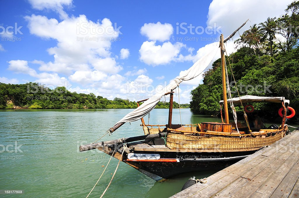 dhow sailing boat in Kenya stock photo