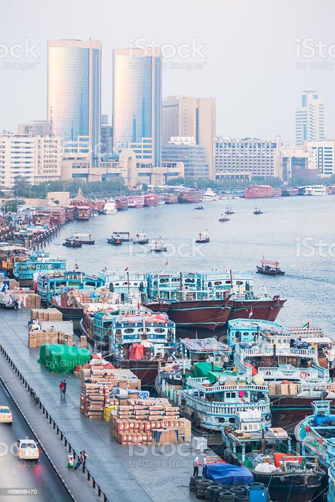 Dhow Wharfage, Abra Station, Dinner Cruise Boats Along Dubai Creek stock photo