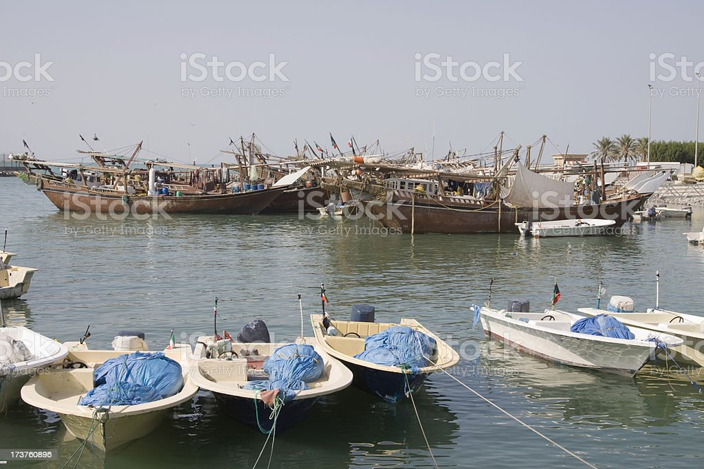 Dhows in Kuwait royalty-free stock photo