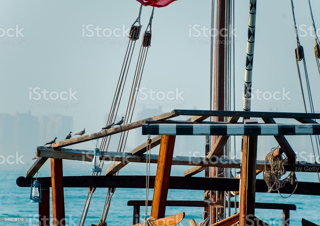 Dhows in the harbor of Doha, Qatar stock photo