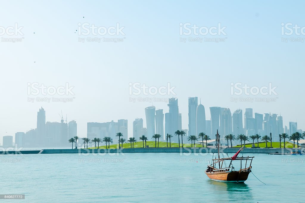 Dhows in the harbor of Doha, Qatar, West Bay view stock photo