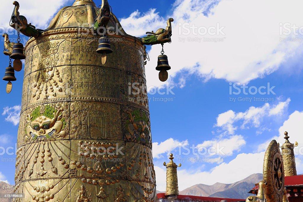 Dhvajas-dharmachakra on the roof. Jokhang-Lhasa-Tibet. 1422 stock photo