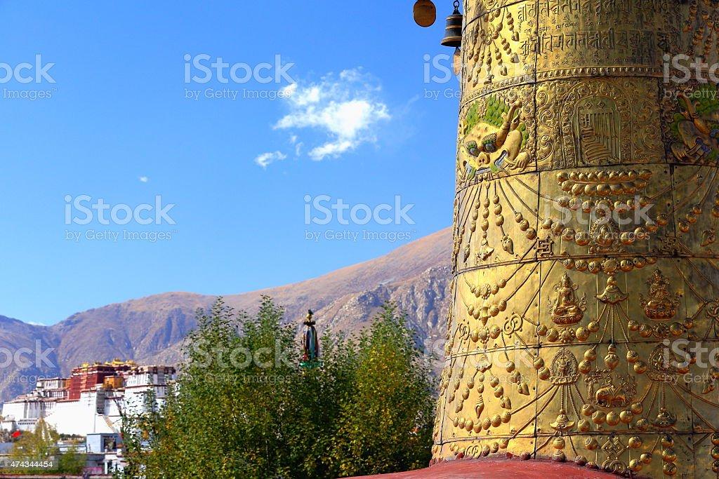 Dhvaja-victory banner on rooftop-Potala on backgroung. Jokhang-Lhasa-Tibet. 1423 stock photo