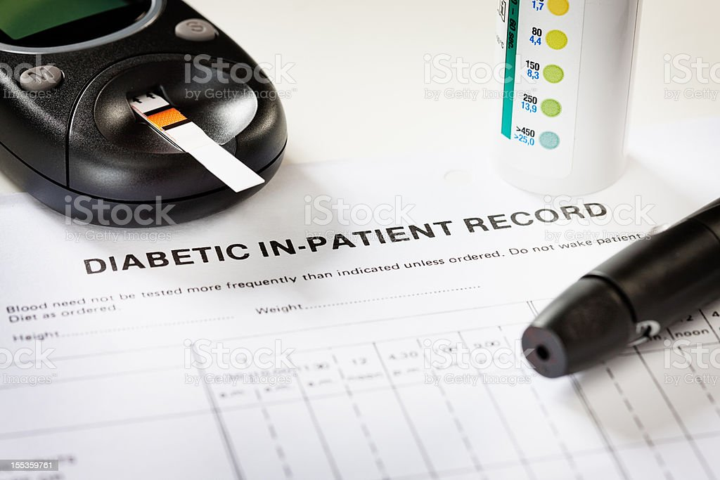 Diabetes: an increasingly common lifestyle disease with related medical equipment stock photo