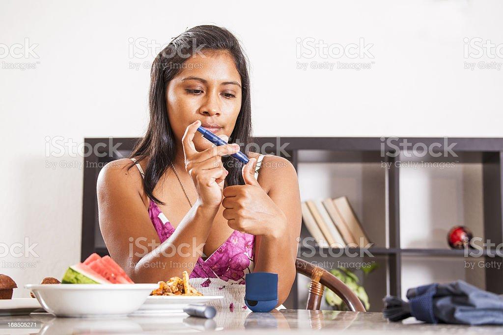 Diabetes blood test stock photo